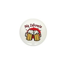 Na Zdrowie Toast With Beer Mugs Mini Button (10 pa