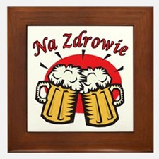 Na Zdrowie Toast With Beer Mugs Framed Tile