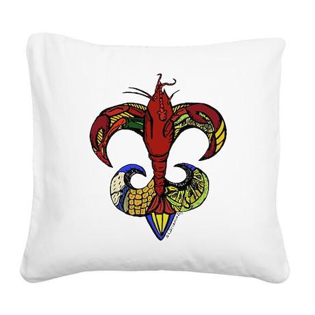 Crawfish Boil Fleur De Lis Square Canvas Pillow