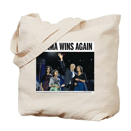 Obama Wins Again: Obama 2012 Tote Bag