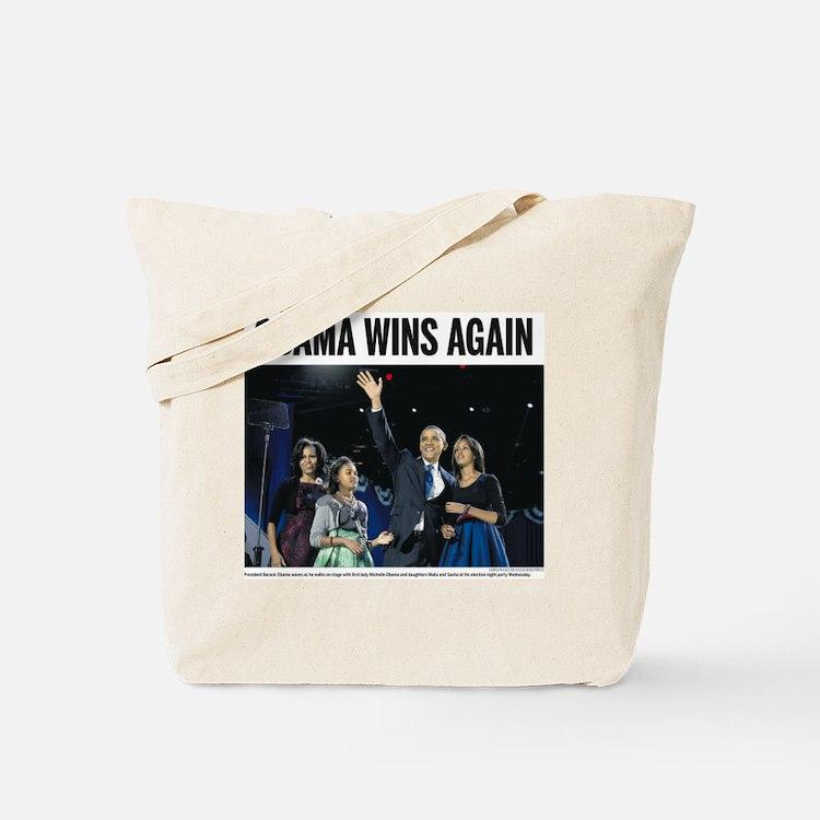 Obama Wins Again: Obama 2012 Tote Bag