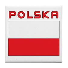 Polish Flag With Polska Tile Coaster