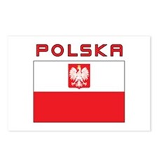 Polish Falcon Flag With Polska Postcards (Package
