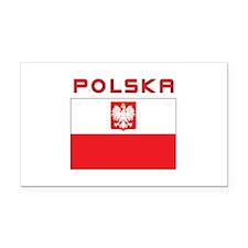 Polish Falcon Flag With Polska Rectangle Car Magne