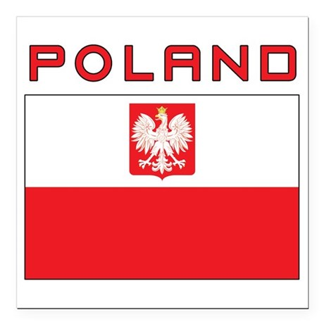 Polish Falcon Flag With Poland Square Car Magnet 3