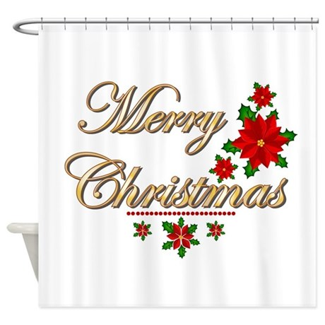 Fancy Merry Christmas Shower Curtain By WhimsicalDesigns