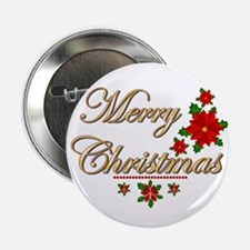 """Fancy Merry Christmas 2.25"""" Button (10 pack)"""