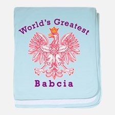 World's Greatest Babcia Red Eagle baby blanket