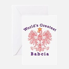 World's Greatest Babcia Red Eagle Greeting Card