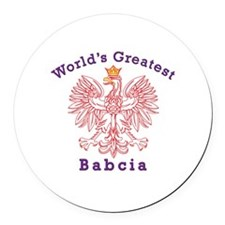 World's Greatest Babcia Red Eagle Round Car Magnet