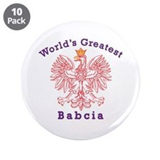 "World's Greatest Babcia Red Eagle 3.5"" Button (10"