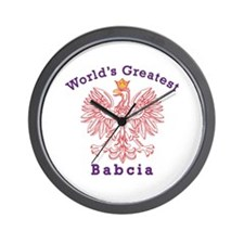 World's Greatest Babcia Red Eagle Wall Clock