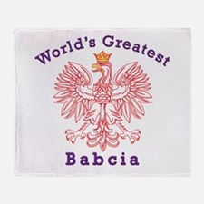 World's Greatest Babcia Red Eagle Throw Blanket