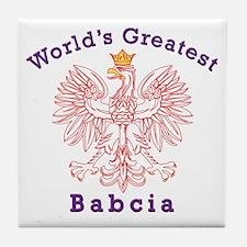 World's Greatest Babcia Red Eagle Tile Coaster