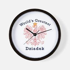 World's Greatest Dziadek Red Eagle Wall Clock