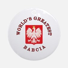 World's Greatest Babcia Crest Ornament (Round)