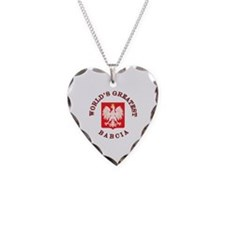 World's Greatest Babcia Crest Necklace Heart Charm