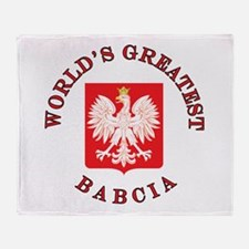 World's Greatest Babcia Crest Throw Blanket