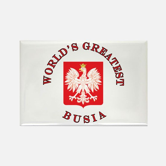 World's Greatest Busia Crest Rectangle Magnet
