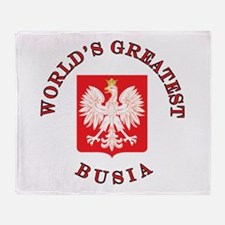 World's Greatest Busia Crest Throw Blanket