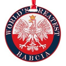 Round World's Greatest Babcia Ornament