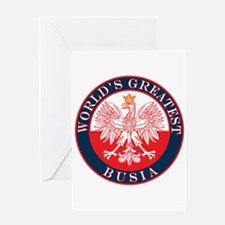 Round World's Greatest Busia Greeting Card