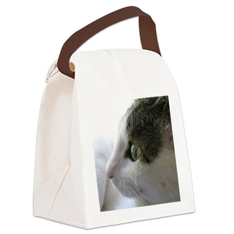 Green Eyed White Tabby Cat in Profile Canvas Lunch