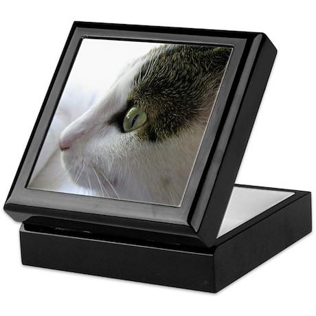 Green Eyed White Tabby Cat in Profile Keepsake Box