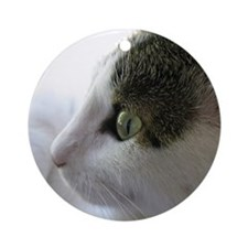 Green Eyed White Tabby Cat in Profile Ornament (Ro