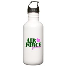 Air Force Fiancee Pink Hearts Water Bottle