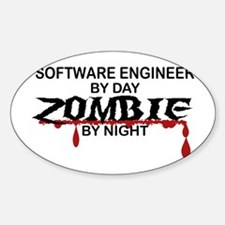 Software Engineer Zombie Sticker (Oval)