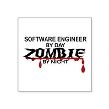 "Software Engineer Zombie Square Sticker 3"" x 3"""