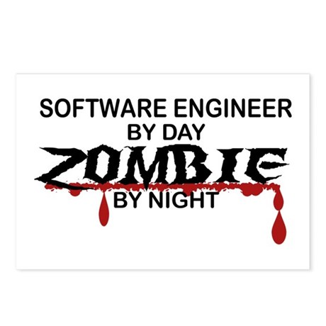 Software Engineer Zombie Postcards (Package of 8)