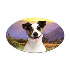 Jack Russell Meadow Oval Car Magnet