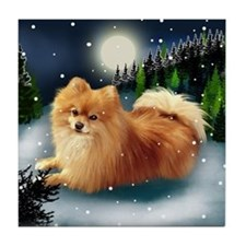 POMERANIAN DOG MOUNTAIN Tile Coaster