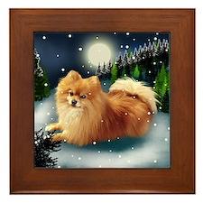 POMERANIAN DOG MOUNTAIN Framed Tile