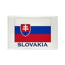 Slovakia Flag Gear Rectangle Magnet