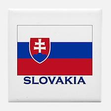 Slovakia Flag Gear Tile Coaster