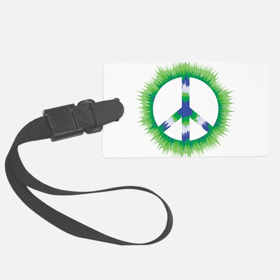 Trippy Tie Dye Peace Sign Spiked - Green and Blue