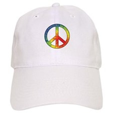 Peace Sign Tie Dye Offset Rainbow Baseball Cap