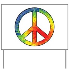 Peace Sign Tie Dye Offset Rainbow Yard Sign