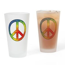 Peace Sign Tie Dye Offset Rainbow Drinking Glass