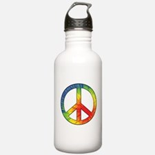 Peace Sign Tie Dye Offset Rainbow Water Bottle