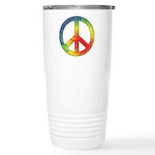 Peace Sign Tie Dye Offset Rainbow Travel Mug