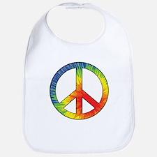 Peace Sign Tie Dye Offset Rainbow Bib