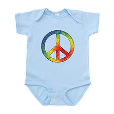 Peace Sign Tie Dye Offset Rainbow Infant Bodysuit