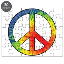 Peace Sign Tie Dye Offset Rainbow Puzzle