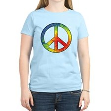 Peace Sign Tie Dye Offset Rainbow T-Shirt