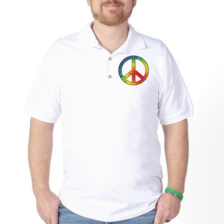 Peace Sign Tie Dye Offset Rainbow Golf Shirt