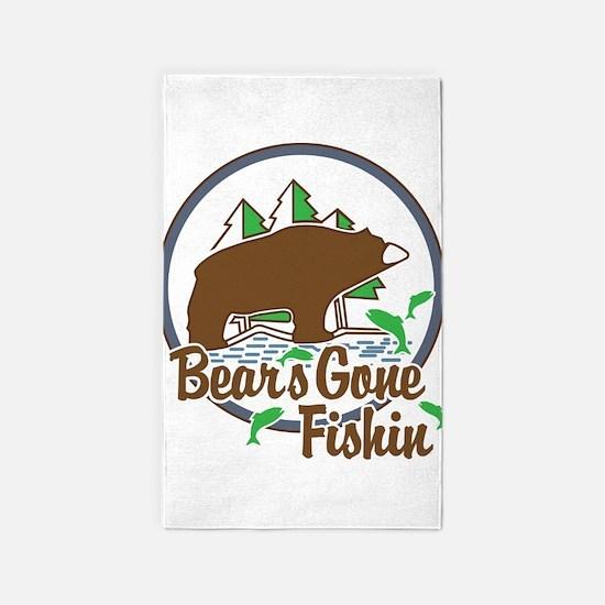 Bear's Gone Fishn' 3'x5' Area Rug